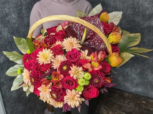 "Корзина с цветами ""Осенний день"""