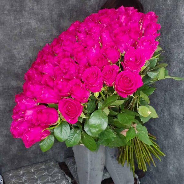 Розовая роза 100см