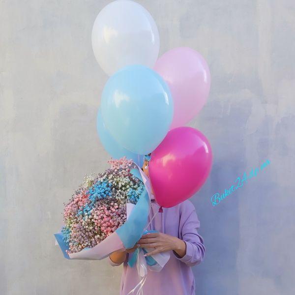 Букет гипсофилы с шариками