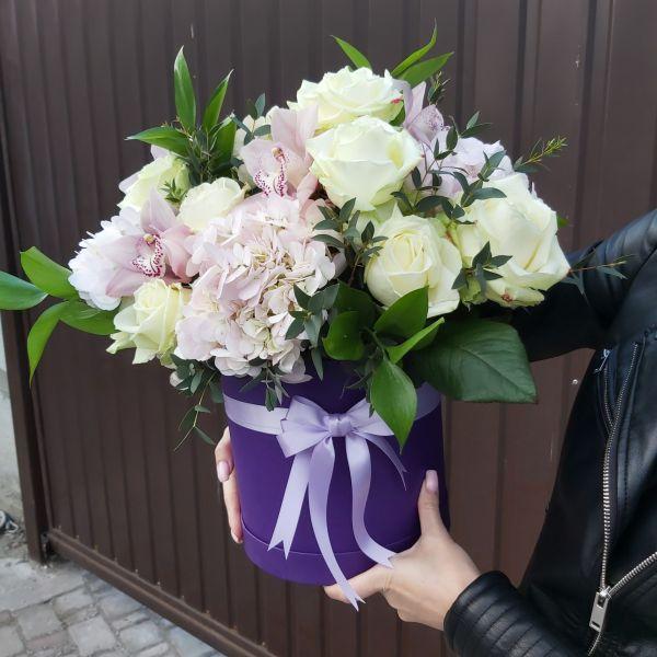 """Цветы в шляпной коробке """"Эвкалипт"""""""