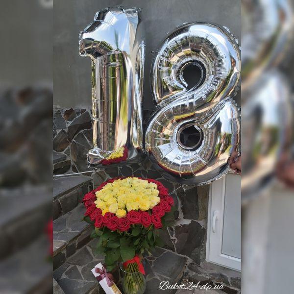 101 желтая и красная роза