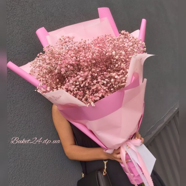 Стильный букет розовой гипсофилы