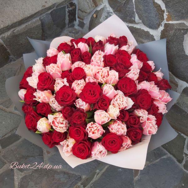 """Букет """"Тюльпаны с розами"""""""
