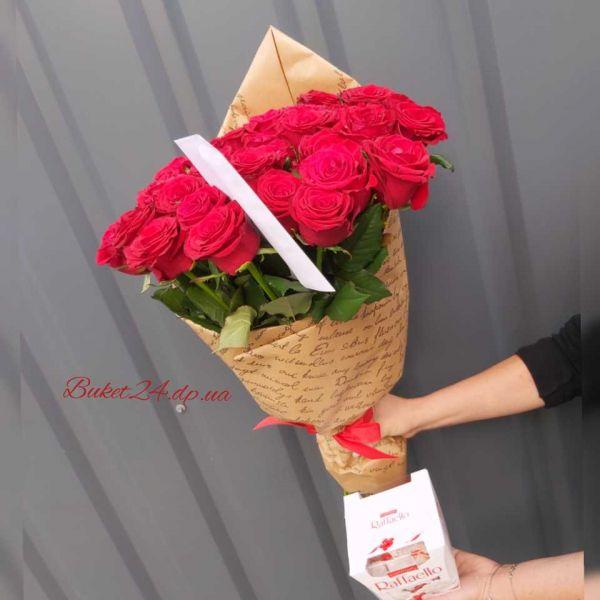 35 красных роз +  Raffaello в подарок