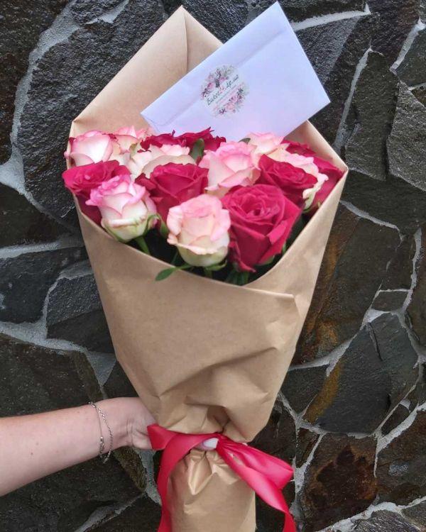 Букет Красных и розовых роз Гран При