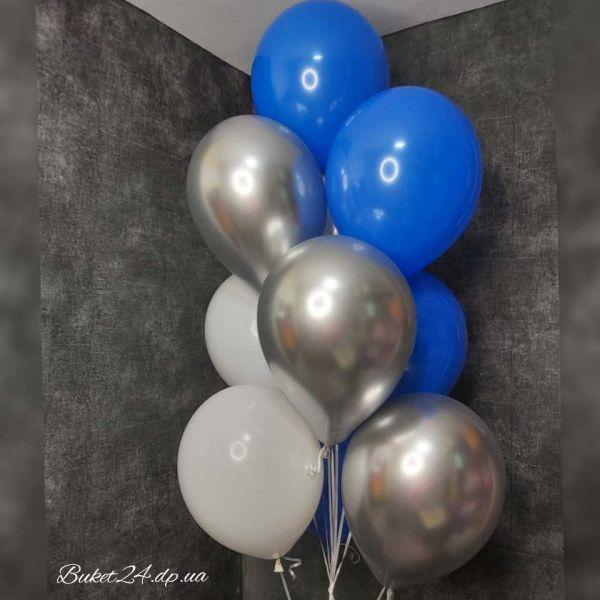 Фонтан из 10 шаров. Хром, синий, белый