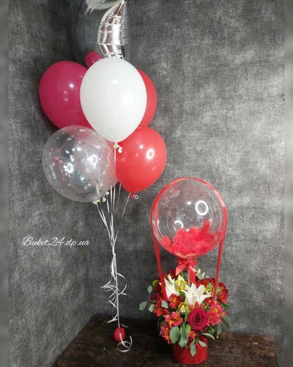 Набор для подарка Цветы и Шарики