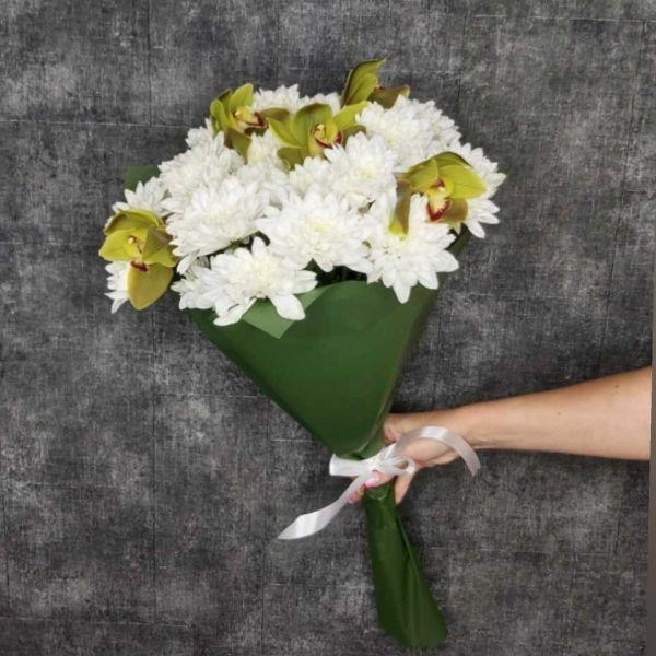 Букет Хризантемы с Орхидеями